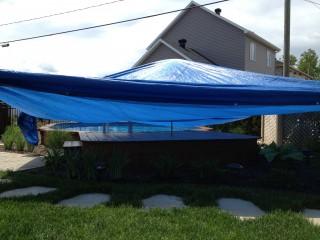 Toile de protection du soleil sur terrasse