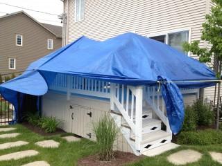 Peinture de patio avec protection d'une toile