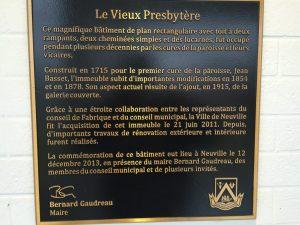 Historique du presbytère Neuville, Québec