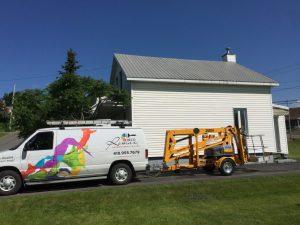 Nacelle articulée pour travaux de peinture de toiture
