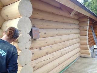 decapage de maison en bois rond