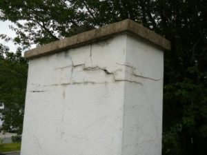 restauration de fissure sur cheminee stucco